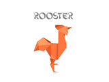 Illustration Of An Origami Rooster Affiches par  unkreatives