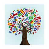 Flags Of The World Tree Reproduction giclée Premium par  cienpies