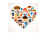 Heart Shape With Germany Icons Posters par  Marish
