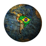 Brazil Flag On Globe Map Prints by  michal812