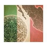 Background With Mayan Calendar Premium Giclee Print by  Sateda
