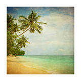 Grunge Image Of Tropical Beach Prints by  javarman