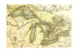 1795 Map Of The Great Lakes Posters by  Tektite