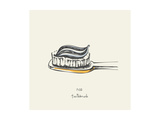 7:02 Toothbrush - Drawing Prints by  teacept