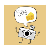 Camera Cartoon Say Cheese Prints by Sergio Hayashi