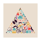 Retro Hipsters Icons Triangle Posters by  cienpies