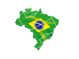 Brazil Map Flag Soccer Posters by  talitha