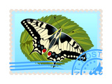 Postage Stamp With A Butterfly Prints by  GUARDING-OWO