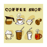 Coffee Design Elements Premium Giclee Print by  jackrust