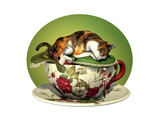 Cat N Cup Calico Sleeping Poster by Atelier Sommerland