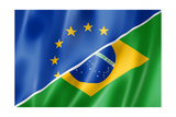Europe And Brazil Flag Prints by  daboost