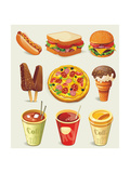 Cartoon Fast Food Icon Prints by Aleksey Vl B.