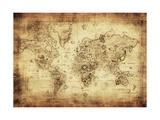 Antike Karte von der Welt Poster von  javarman