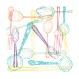 Retro Cutlery Sketch Style Set Prints by  cienpies