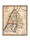 Antique Map Of Old Israel Print by  Tektite