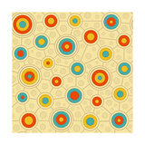 Circular Pattern In Retro Colors Prints by  vectorikart