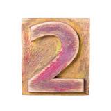Wooden Alphabet Block, Number 2 Reproduction giclée Premium par  donatas1205