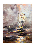 Sailing Vessel In A Stormy Sea Poster by  balaikin2009