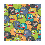Cute Monsters Seamless Texture Premium Giclee Print by  panova