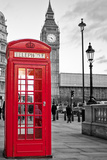 A Traditional Red Phone Booth In London With The Big Ben In A Black And White Background Fotografisk tryk af Kamira
