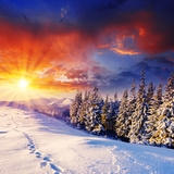 Majestic Sunset In The Winter Mountains Landscape. Hdr Image Print by Leonid Tit