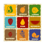 Vintage Fruits Icons Posters by  radubalint