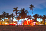 Miami Beach Florida Hotels And Restaurants At Sunset Prints by  Fotomak