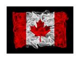 Smoky Flag Of Canada Prints by  Batareykin