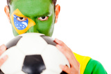 Brazilian Football Fan Holding A Ball - Isolated Over A Hwite Background Posters by  andres