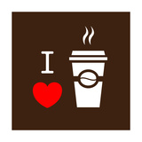 I Love Coffee Premium Giclee Print by  lekkyjustdoit