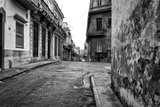 Gritty Black And White Image Of An Old Street In Havana Posters by  Kamira