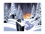 Snow Scene With Barn Prints by  Designwest