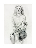 Woman Sitting Sketch Prints by Boyan Dimitrov