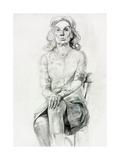Woman Sitting Sketch Prints by Boyan Dimitrov