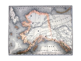 Vintage Map Of Alaska Poster by  Tektite