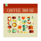 Coffee House Concept Premium Giclee Print by  cienpies