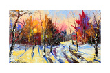 Sunset In Winter Wood Prints by  balaikin2009