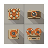 Retro Flat Arts Icon Print by  YasnaTen
