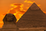 The Sphinx And Great Pyramid, Egypt Fotografisk tryk af Dmitry Pogodin
