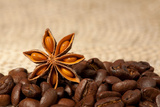 Coffee And Star Anise On Sackcloth Background With Copyspace Prints by  wasja