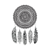 Ethnic Dream Catcher Print by  transiastock