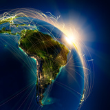 Main Air Routes In South America Photographic Print by  Antartis