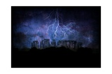 Stone Henge Lightning Print by  rolffimages