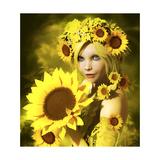 Sunflower Girl Premium Giclee Print by Atelier Sommerland