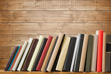 Old Books On A Wooden Shelf. No Labels, Blank Spine Photographic Print by  donatas1205