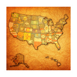 States On Map Of Usa Prints by  michal812