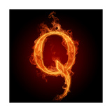 Fiery Font. Letter Q Prints by  Misha