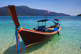 Long Tail Boat Sit On The Beach Rawi Island Thailand Photographic Print by  lkunl
