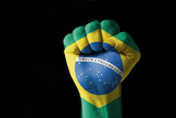 Fist Painted In Colors Of Brazil Flag Photographic Print by  vepar5