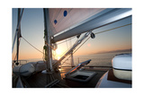 Sailing Boat Deck At Sunset Posters by  aragami12345